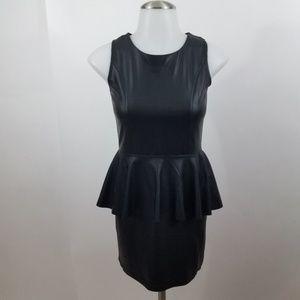 Blush Dress black peplum bodycon sheath L faux lea